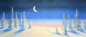 Night Snow Landscape with Crescent Moon Backdrop