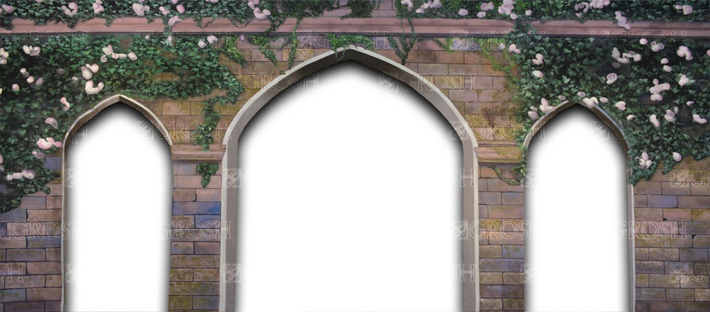 Stone Arch with Ivy backdrop for church, Macbeth, Hamlet, Camelot, Cinderella, Snow White, Sound of Music, dungeon, castle interior, Once Upon a Mattress, Shrek, Romeo and Juliet plays and productions