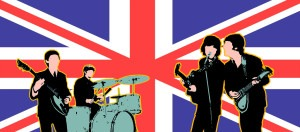 British Invasion backdrop for The Beatles, Fab Four, England, British plays and productions