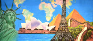 International Montage backdrop for recital, travel, event planner, The Statue of Liberty, the Sydney Opera House, the Eiffel Tower, Great Wall of China and Egyptian pyramids plays and productions