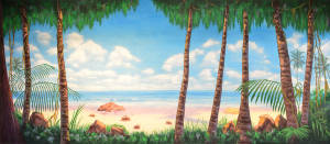Tropical Beach with Jungle Foliage backdrop for Guys and Dolls, South Pacific, Hawaii, Hawaiian, Once On This Island plays and productions