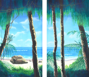 Tropical Jungle with Beach Legs Set Backdrop