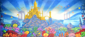 Undersea Castle backdrop for Lost City of Atlantis, Little Mermaid, Finding Nemo, Underwater plays and productions