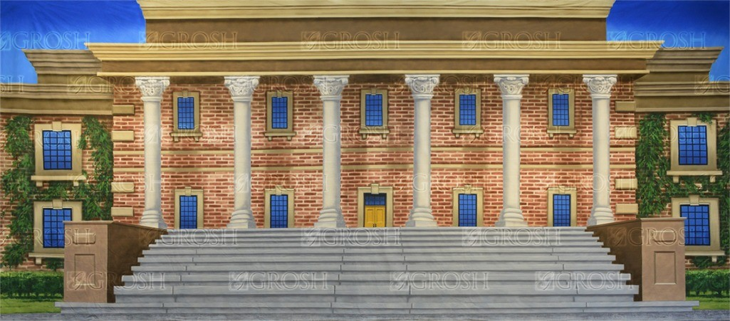 University backdrop for Legally Blonde, exteriors, university, college, Elle Woods, fraternity, Revenge of the Nerds, dorm, House Bunny, housing, Old School, Animal House, sorority house plays and productions