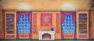 Victorian Parlor Interior for Nutcracker. Also used for: Annie, Hello Dolly, Little Mermaid, Mame, Mama Mia, Beauty and the Beast