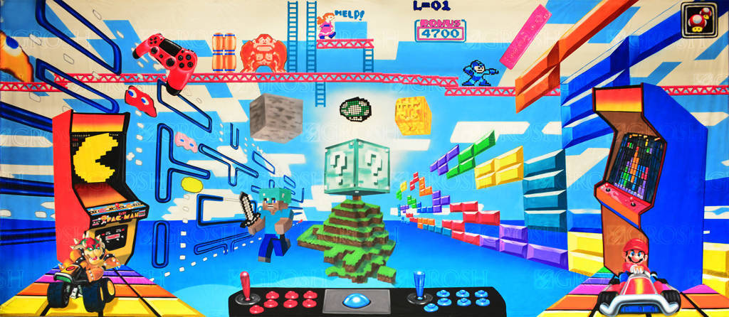 Video Game Montage backdrop for Donkey Kong, Mega Man, PacMan, Bowser, Minecraft and Super Mario productions and events