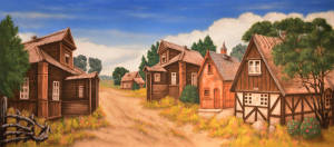 Village 2 backdrop for iddler on the Roof, Anatevka, Tevia, Russian Village, European street, European, Russian street, European village, rustic town, town, Western, Little House on the Prairie plays and productions