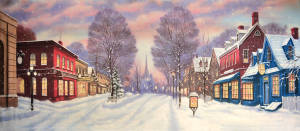 Winter Small Town backdrop for Christmas, holidays, seasons greetings, It's a Wonderful Life plays and productions