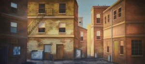 Back Alley backdrop for Annie, West Side Story, Little Shop of Horrors, Gypsy, Scrooge, Rags, city streets, alley, Cats, In the Heights, back alley, brownstone, building, building with fire escape plays and productions