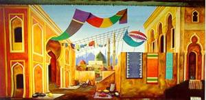 Colorful marketplace backdrop for school plays like Joseph and the Coat of Many Colors