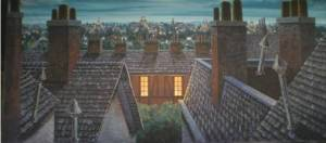 London Rooftops backdrop for Peter Pan plays