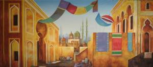 Colorful bazaar backdrop for Aladdin productions