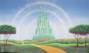 Emerald City Exterior backdrop for Wizard of Oz play