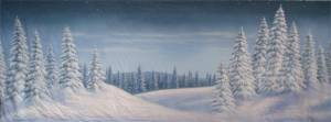 Night Snow Landscape backdrop for Nutcracker, winter, holiday, Christmas, Santa Claus, Xmas, Clara's Gift, Frosty the Snowman plays and productions