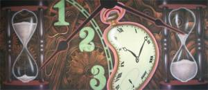 Wonky Clock Montage Backdrop for the Through the Looking Glass Play.