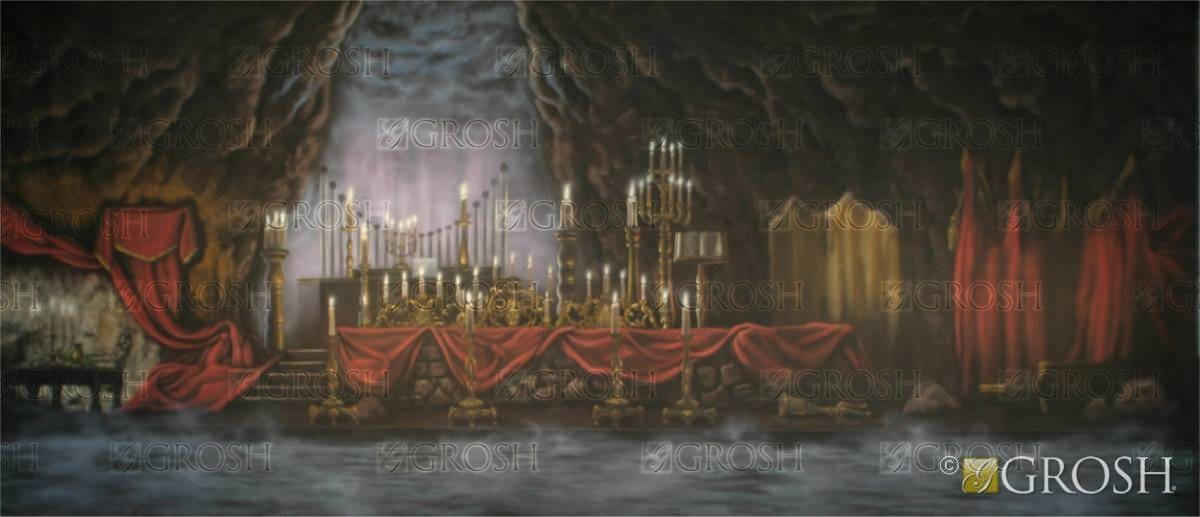 Dark Underground Cave backdrop for Phantom of the Opera, Camelot, Kiss Me Kate, and Romeo and Juliet plays