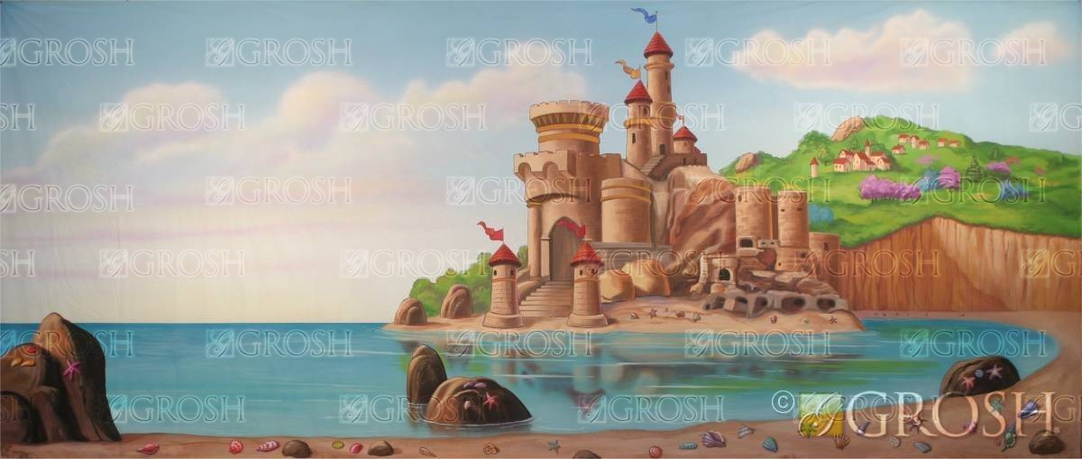 Prince Eric's Castle on the Beach backdrop for Little Mermaid play