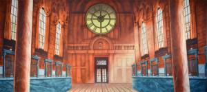 Bank interior backdrop for Mary Poppins school play