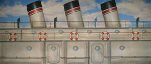 Ship Deck With Smoke Stacks Backdrop