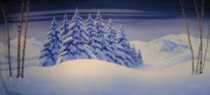 Snow and Birchtree Landscape Backdrop