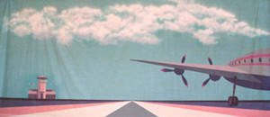 Stylized Airport Exterior Backdrop