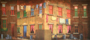 Tenement Building Backdrop by Grosh used in productions of Newsies and West Side Story