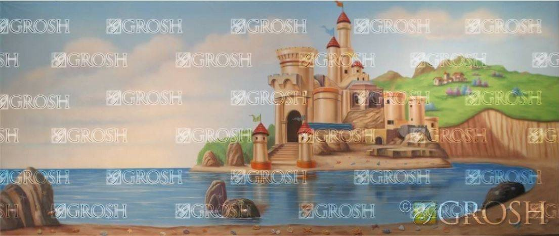 The Little Mermaid Castle by the Beach Backdrop