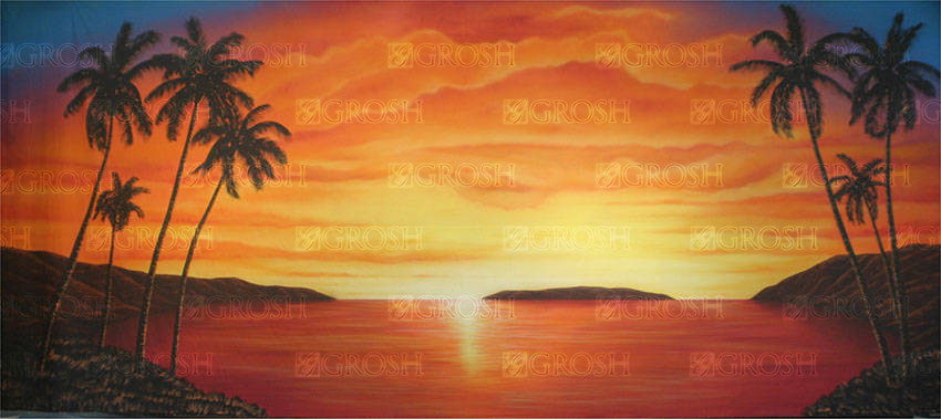 Orange Tropical Sunset Backdrop