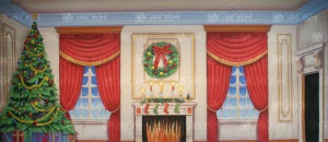 Victorian Parlor with Christmas tree backdrop for A Christmas carol, ballroom, Christmas, holidays, It's a Wonderful Life, library, living room, Nutcracker, Oliver, palace, Scrooge, Sound of Music, study, Victorian Parlor, Xmas plays and productions