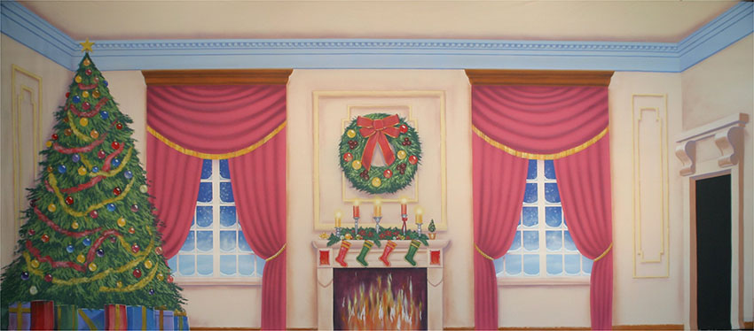Victorian Parlor with Christmas Tree Backdrop