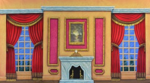 Victorian Parlor backdrop for Annie, Call Me Madam, Charlie's Aunt, Cinderella, Funny Girl, Mame, Music Man, My Fair Lady, Nutcracker, Scrooge and Sound of Music plans and productions