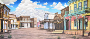 Western street backdrop used in Annie get your gun and Crazy for You plays