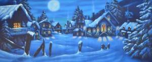 Snowy Winter Village Backdrop