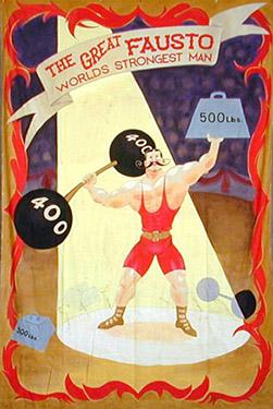 Strong Man Circus Banner Backdrop