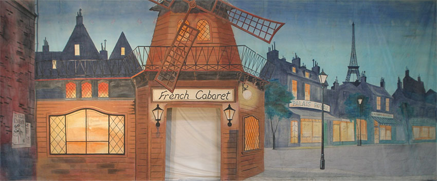French Cabaret with Cut Opening Backdrop