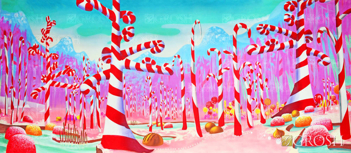 Candy cane forest backdrop used in The Nutcracker production