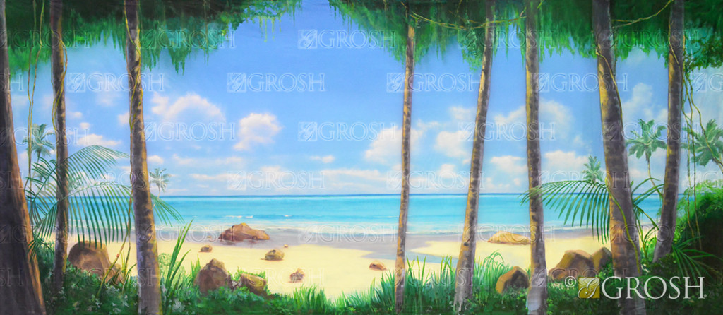 Tropical Beach with Jungle Foliage backdrop