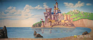 Castle by the beach backdrop used in The Little Mermaid