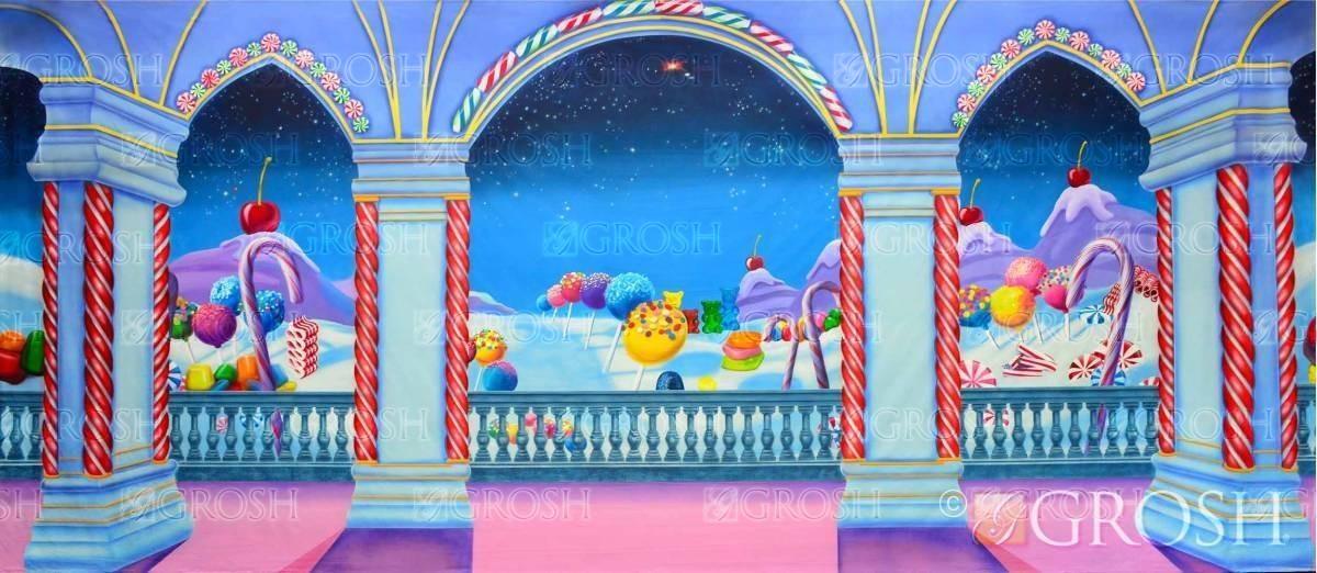Candyland stage backdrop for the Nutcracker