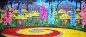 Oz Munchkinland backdrop for Wizard of Oz, The Wiz and Wicked plays and productions