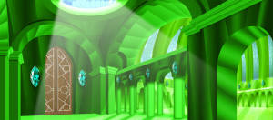 Emerald City Interior backdrop is used for the play The Wizard of Oz