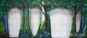 Forest Arch with Cut Outs backdrop for Into the Woods, A Midsummer Night's Dream, Pajama Game, Snow White, Sleeping Beauty, Robin Hood, Hansel and Gretel, Brigadoon, Shrek, Pippin plays and productions