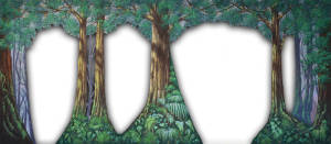 Forest Arch with Cut Outs backdrop for Forest Backdrop, Into the Woods, A Midsummer Night's Dream, Pajama Game, Snow White, Sleeping Beauty, Robin Hood, Hansel and Gretel, Brigadoon, Forest, Mountain Themes, Shrek, Pippin plays and productions
