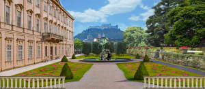 Garden with Fountain backdrop for Sound of Music, Cinderella, Call Me Madam plays and productions